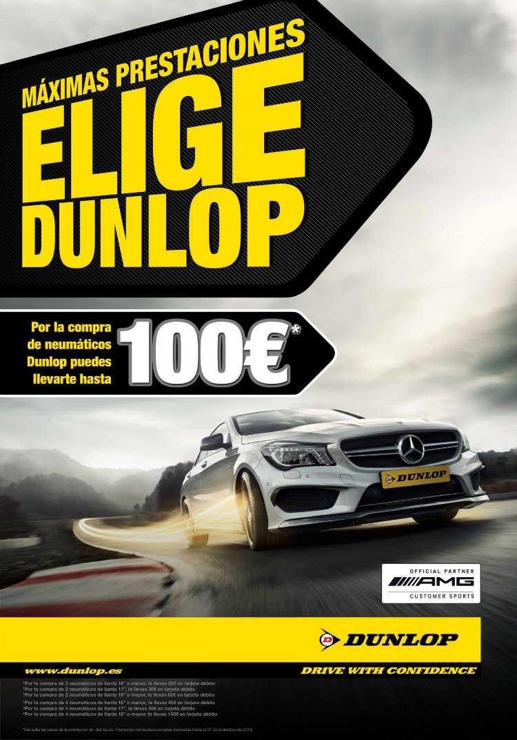 Dunlop fomenta la compra de neumáticos con hasta 100€ de regalo