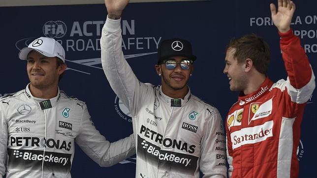 Los tres mejores clasificados para el GP de China.